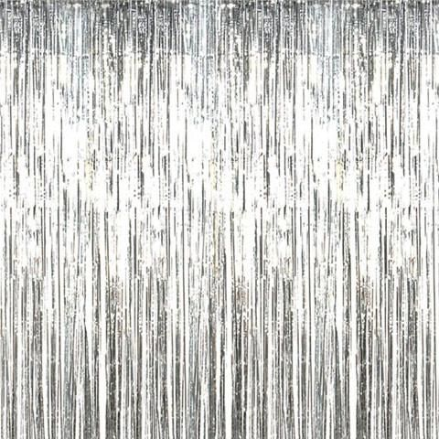Unicorn Party Backdrop And Decoration Foil Curtain Silver