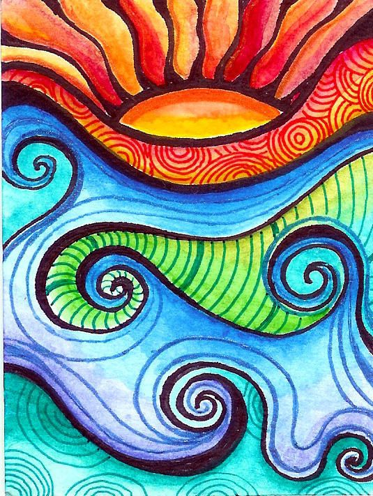 Rolling River Painting Art Art projects Art inspiration