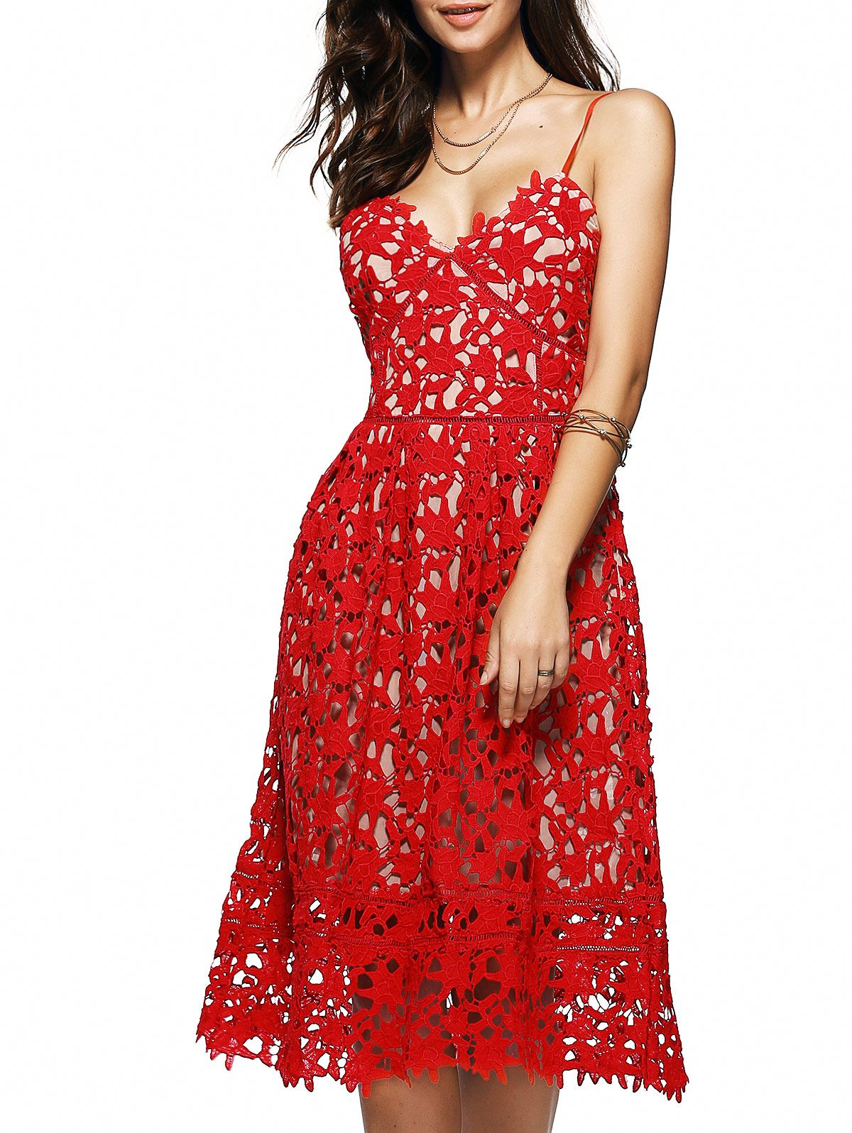 68894caf92 Spaghetti Straps Cut Out Crochet Flower Dress RED: Lace Dresses | ZAFUL
