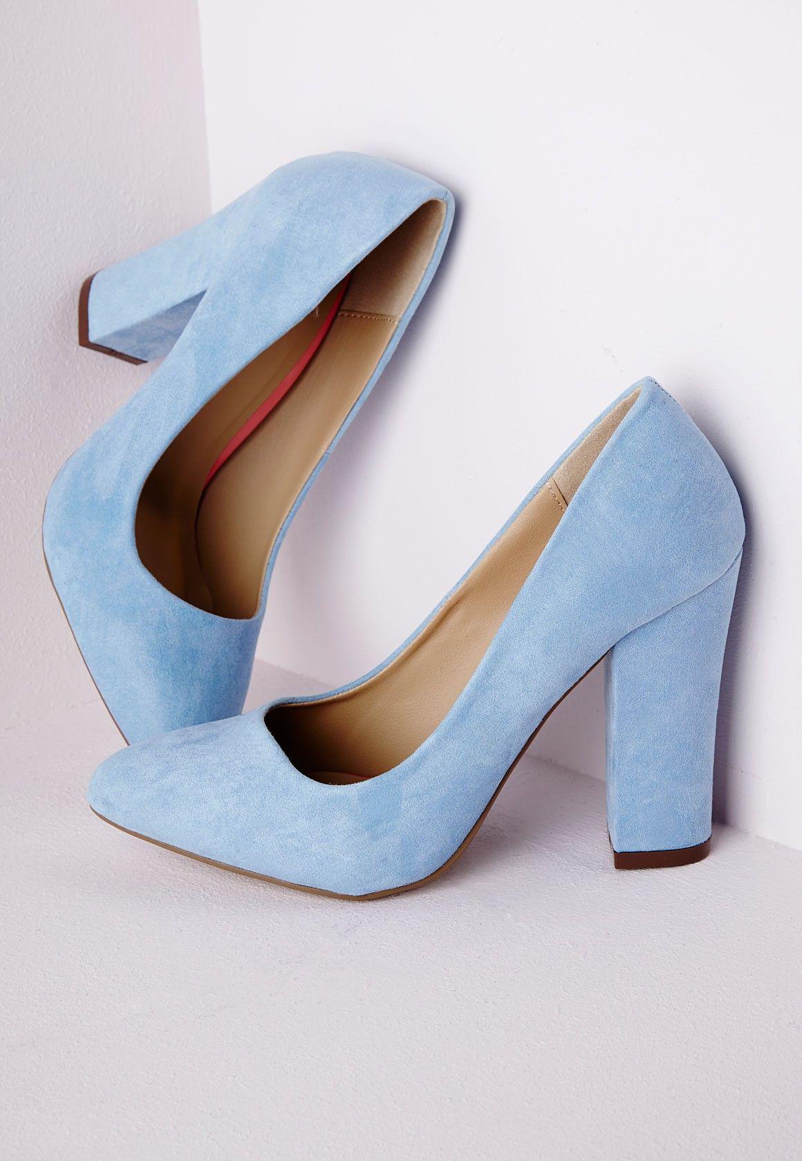 Block Heel Court Shoes Powder Blue