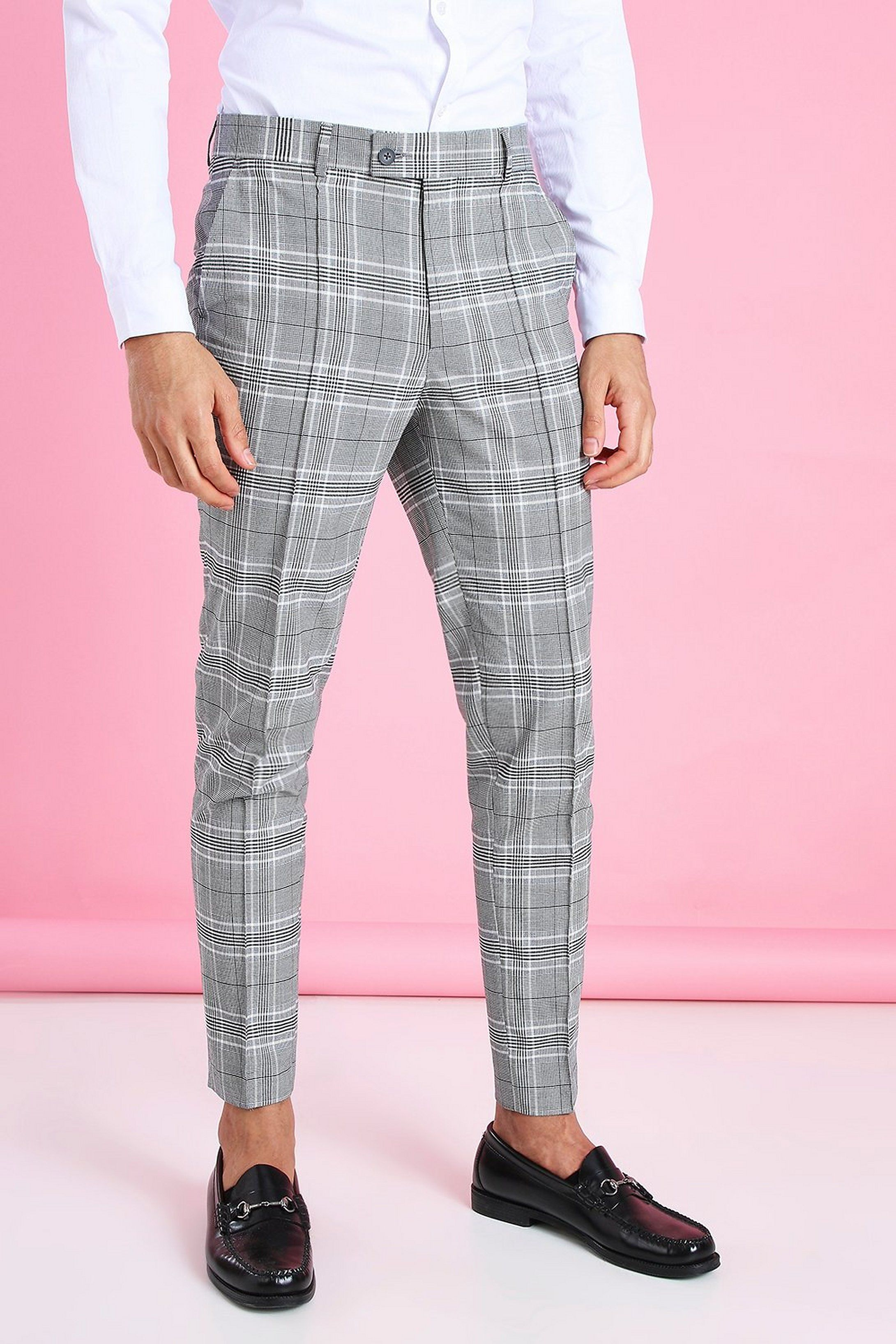 Men S Skinny Tapered Smart Check Pants With Pintuck Boohoo In 2021 Streetwear Men Outfits Stylish Men Casual Mens Plaid Pants [ 3272 x 2181 Pixel ]