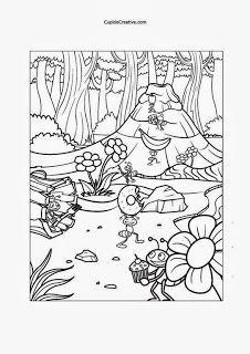 Lembar Mewarnai Untuk Balita Tk Gambar Serangga Sedang Piknik