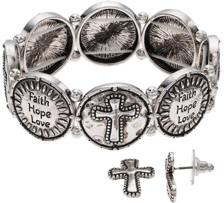 """Believe In """"Faith"""" Cross Stretch Bracelet & Stud Earring Set"""