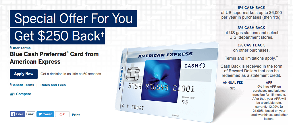Blue Cash Preferred Card 250 Bonus American Express Amex Blue Cash Everyday Card American Express