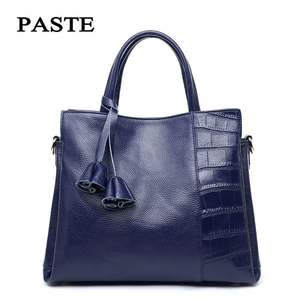 2016 New Style Ladies Handbag Crocodile Pattern Genuine Leather Women's Messenger Bags Female Medium Shoulder Tote Bags PT12