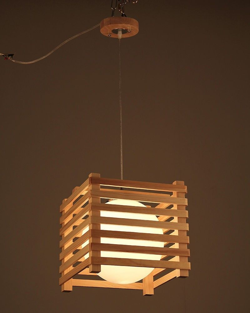 Square shaped wood pendant light with ball frosted glass diffuser