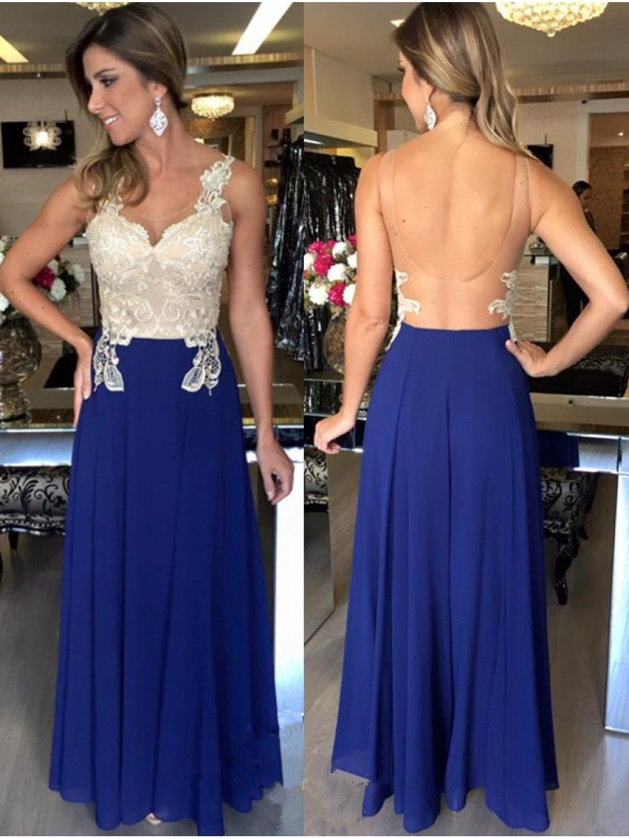 Long blue white lace chiffon prom evening party dresses