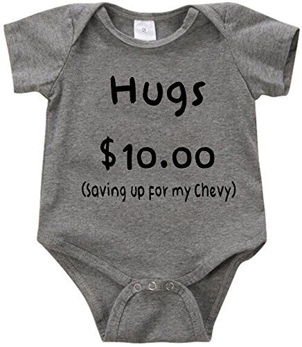 VRW Hugs $10 saving up for my Chevy - unisex Onesie Romper Bodysuit  (3-6months, Grey) | All I Want... | Pinterest | Onesies, Baby boy outfits  and Rompers