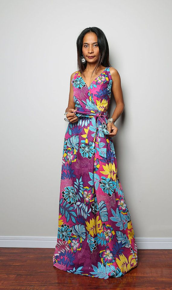 Floral Maxi Dress Cross Over front Dress Boho Summer by Nuichan, $58.00