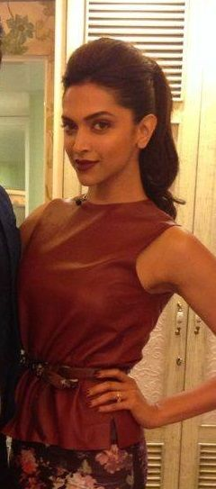 Like the ponytail style and lipstick color | Deepika ...