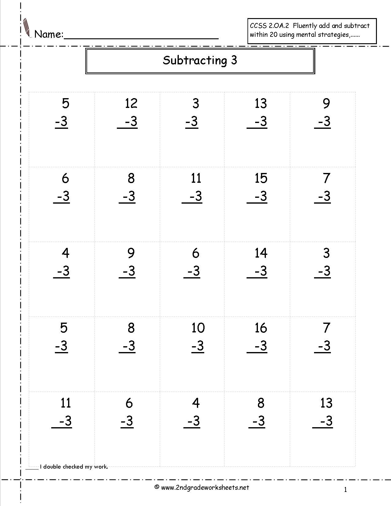 Single Digit Subtraction Fluency Worksheets Math