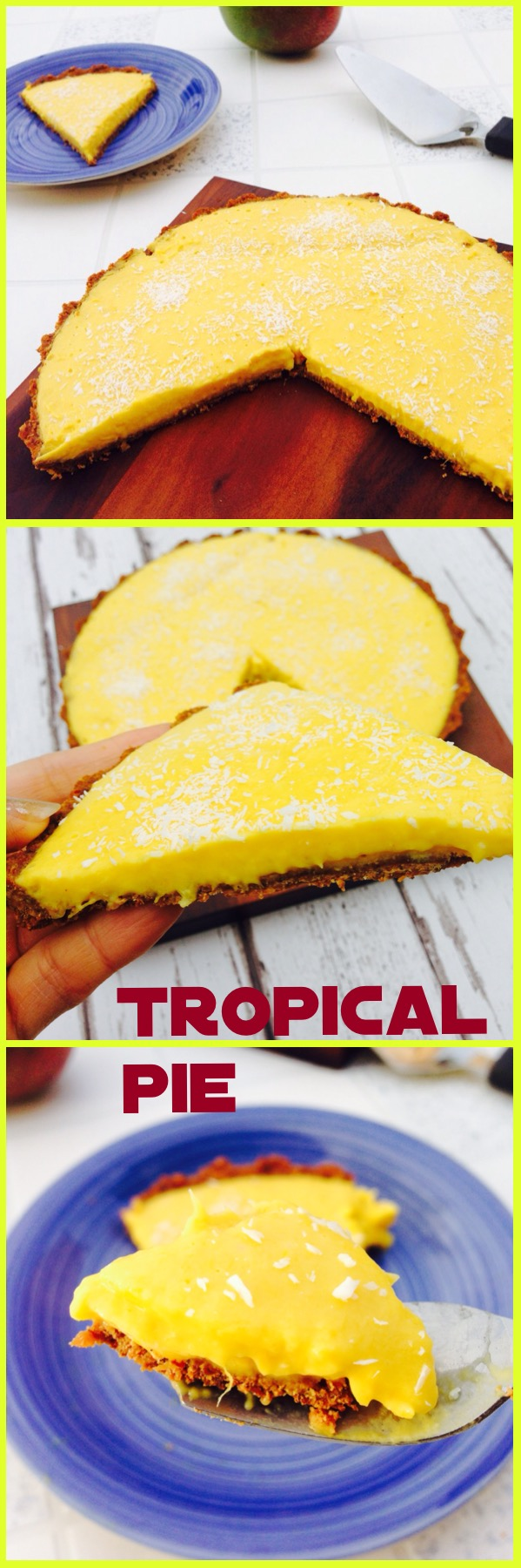 Clean eating, delicious, dairy green, zero sugar tropical pie made with gorgeous ripe fruit perfect for any occasion. Vegan and vegetarian, gluten free