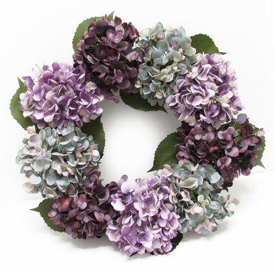 Photo of August Grove Hydrangea Flower 20″ Fabric Wreath Wreath Color: Purple/Blue