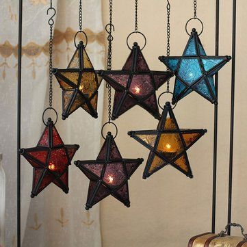 Glass Pentagram European Style Iron Art Hanging Candle Holders Colorful Star Home Decor Light Hanging Candle Holder Star Candle Holder Tealight Candle Holders