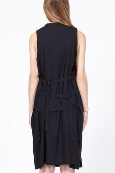 Ann Demeulemeester Victor Back Strap Tank Dress (Black)