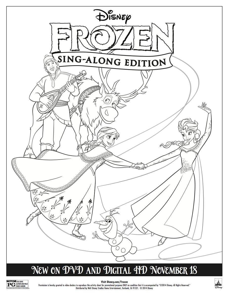 Disney Frozen Sing Along Coloring Sheet