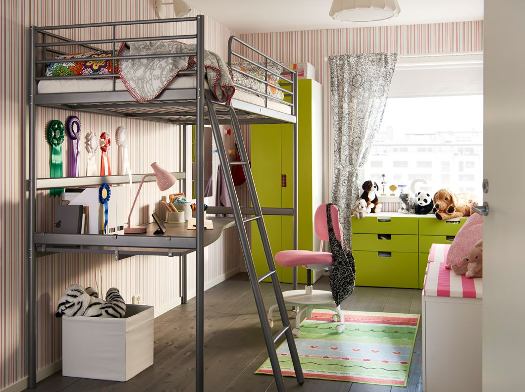 Children S Bedroom With Green Accent And Silver Colored Loft