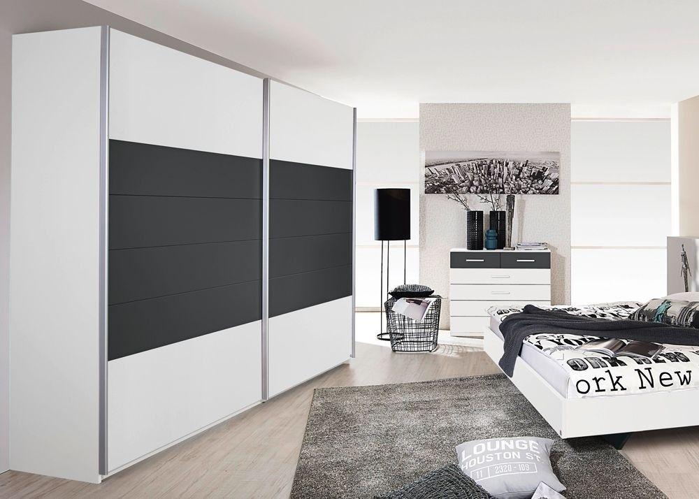 Schwebetürenschrank Barcelona Kleiderschrank 226,0 cm Weiß Grau - schlafzimmer weiß grau