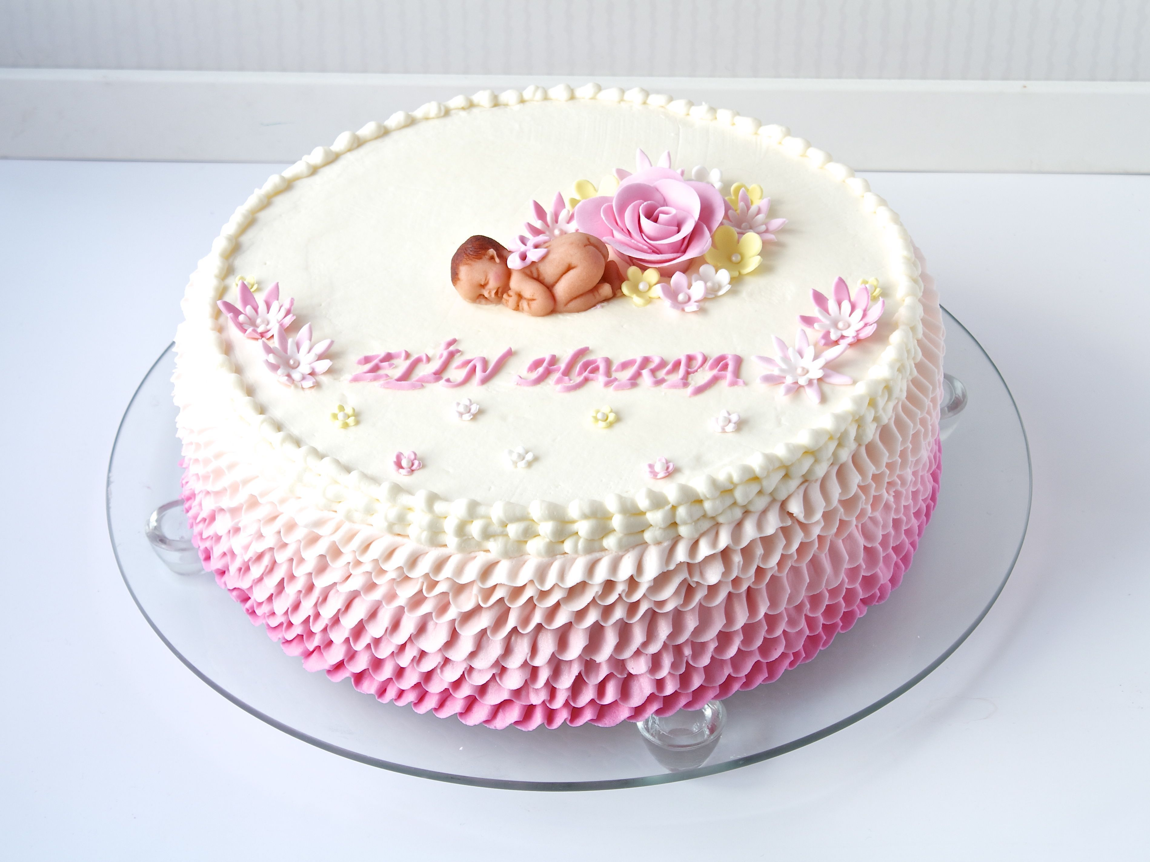 Christening Cake For A Baby Girl All Buttercream Marzipan Baby