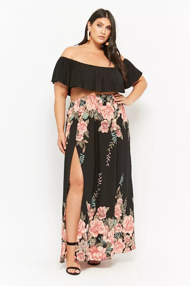 44e4ab582a Product Name Plus Size Floral Print Maxi Skirt