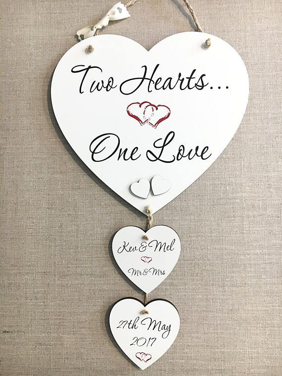 Personalised Wedding Gift For Bride And Groom Heart Love Plaque Sign