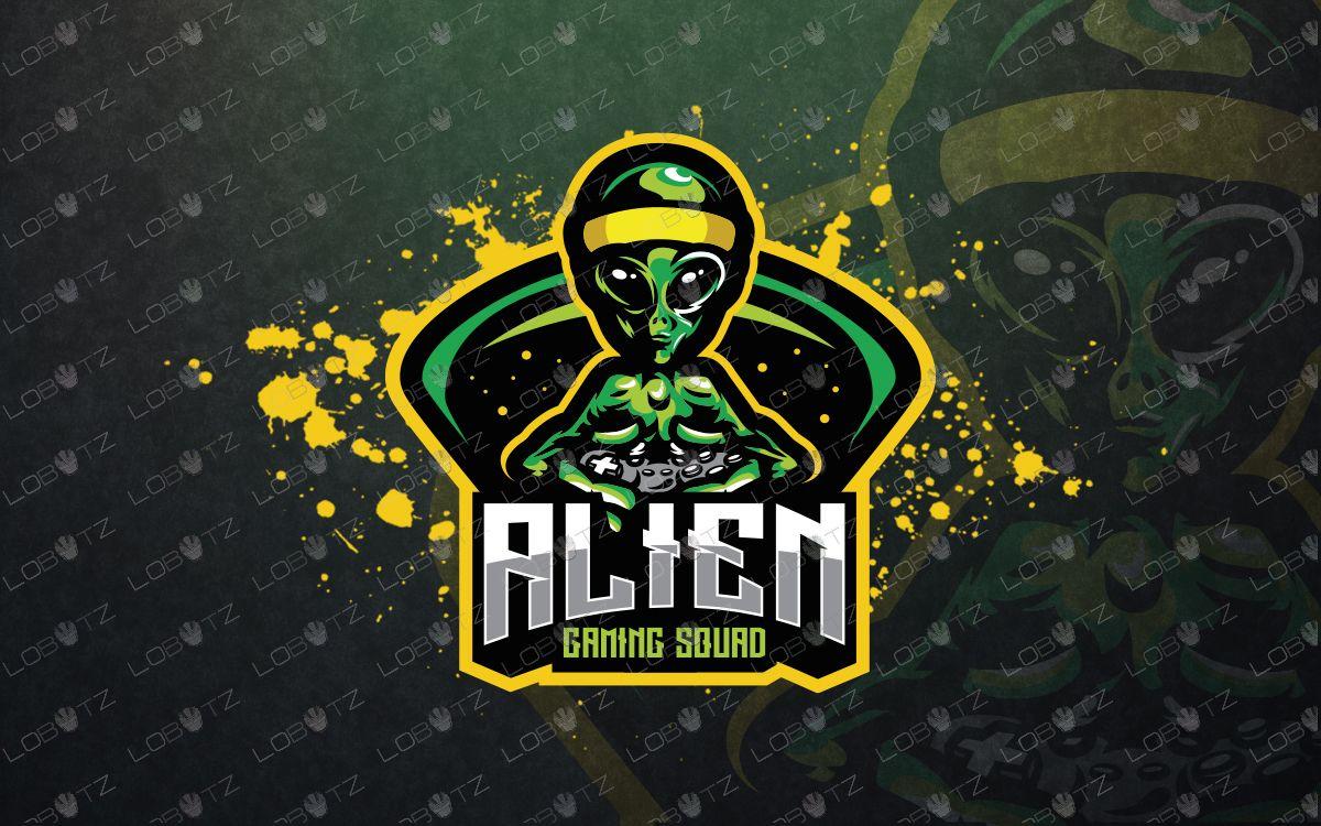 premade gamer alien mascot logo gamer alien esports logo sports