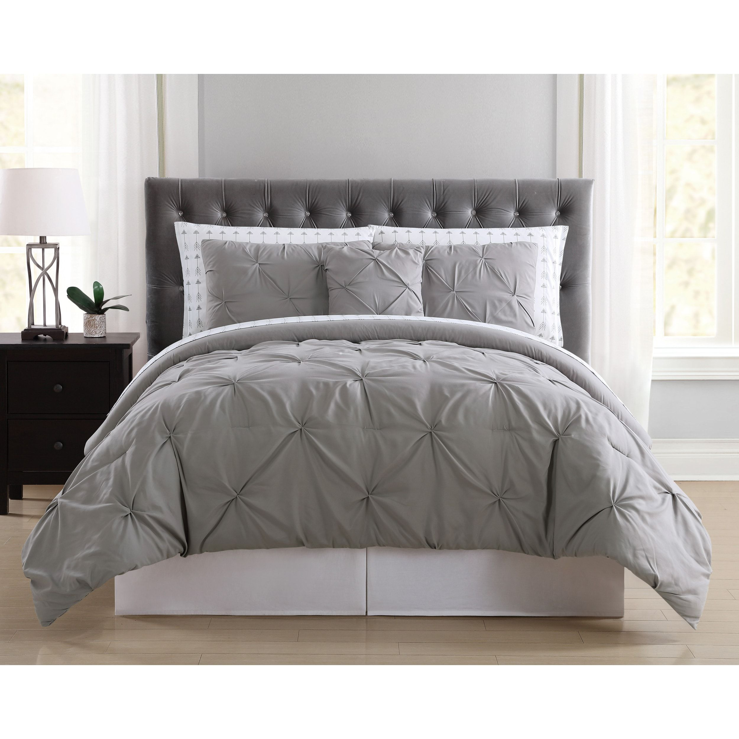 shams set pleat colors com walmart home vcny piece with solid ip pinch multiple comforter maya euro