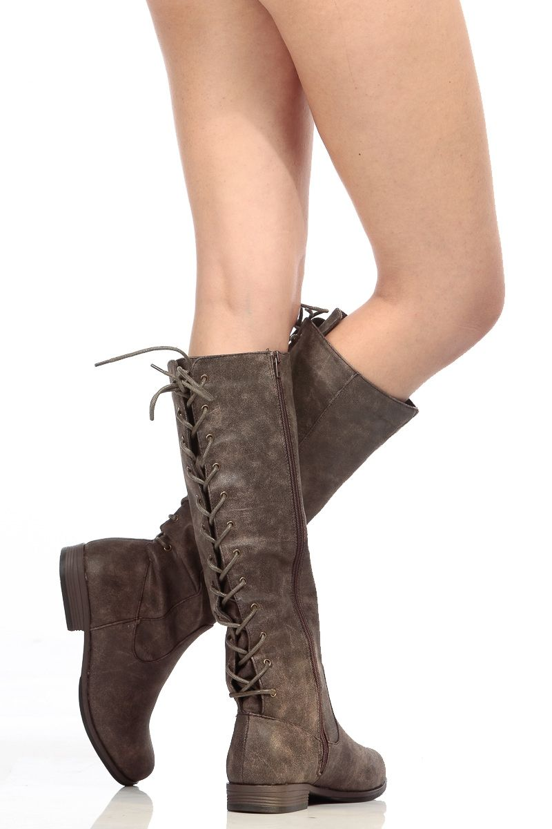 340ed96db73 Brown Faux Suede Knee High Distressed Boots   Cicihot Boots Catalog women s  winter boots