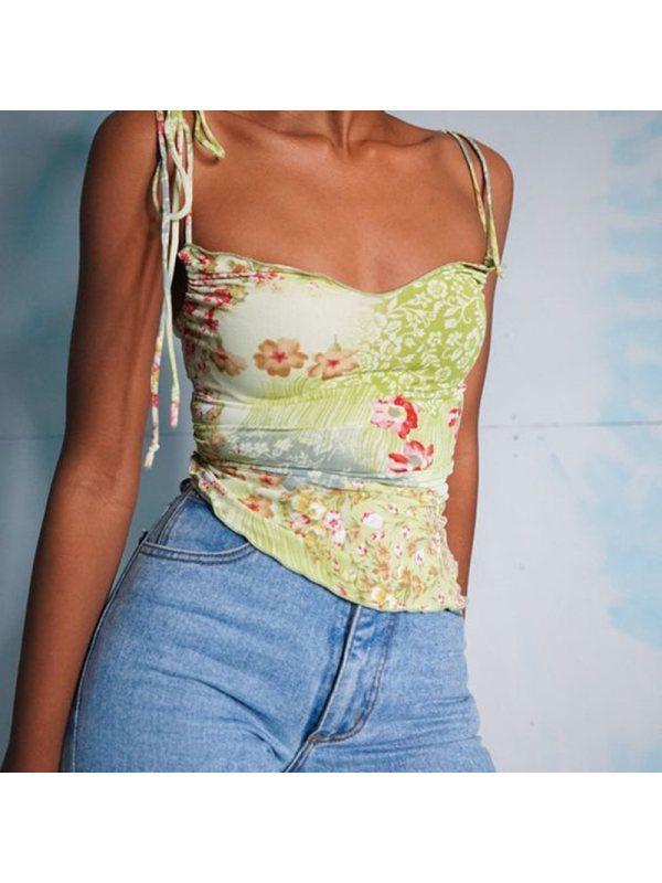 Ladies fashion retro print camisole