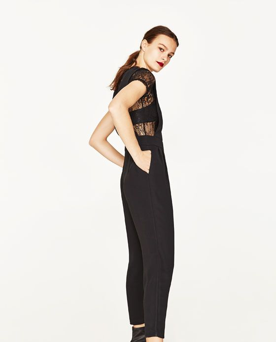 CONTRAST LACE JUMPSUIT - NEW IN. Lace JumpsuitWomens JumpsuitsZara United  StatesContrast