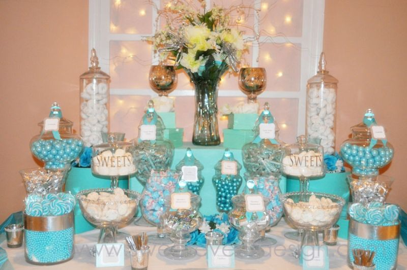 we can use candy with no artifucial color tiffany blue theme candy and dessert bar buffet ideas inspiration curated and collection by design shop