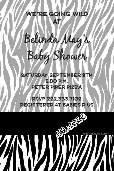 Animal Print Clear Baby Shower Invitations  - choose your colors and animal print  -  Get these invitations RIGHT NOW. Design yourself online, download and print IMMEDIATELY! Or choose my printing services. No software download is required. Free to try!