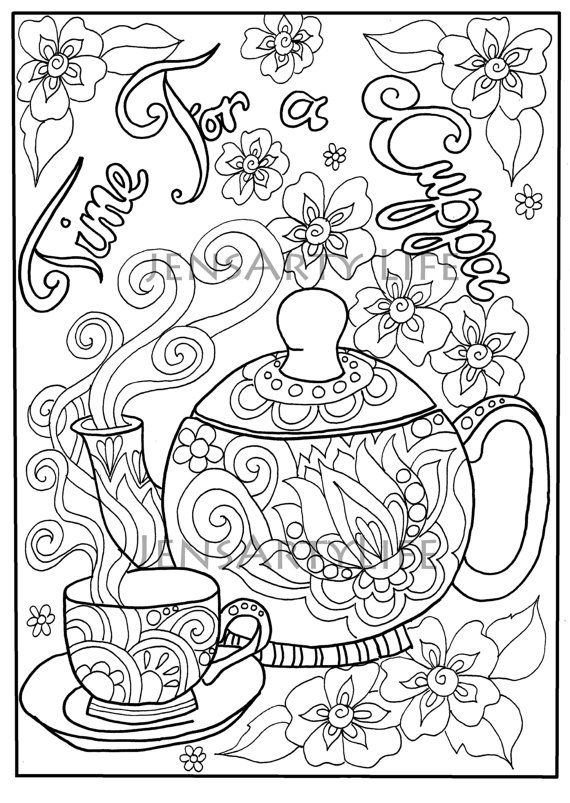 Teapot Doodle Colouring Page Adult Colouring Coloring Books