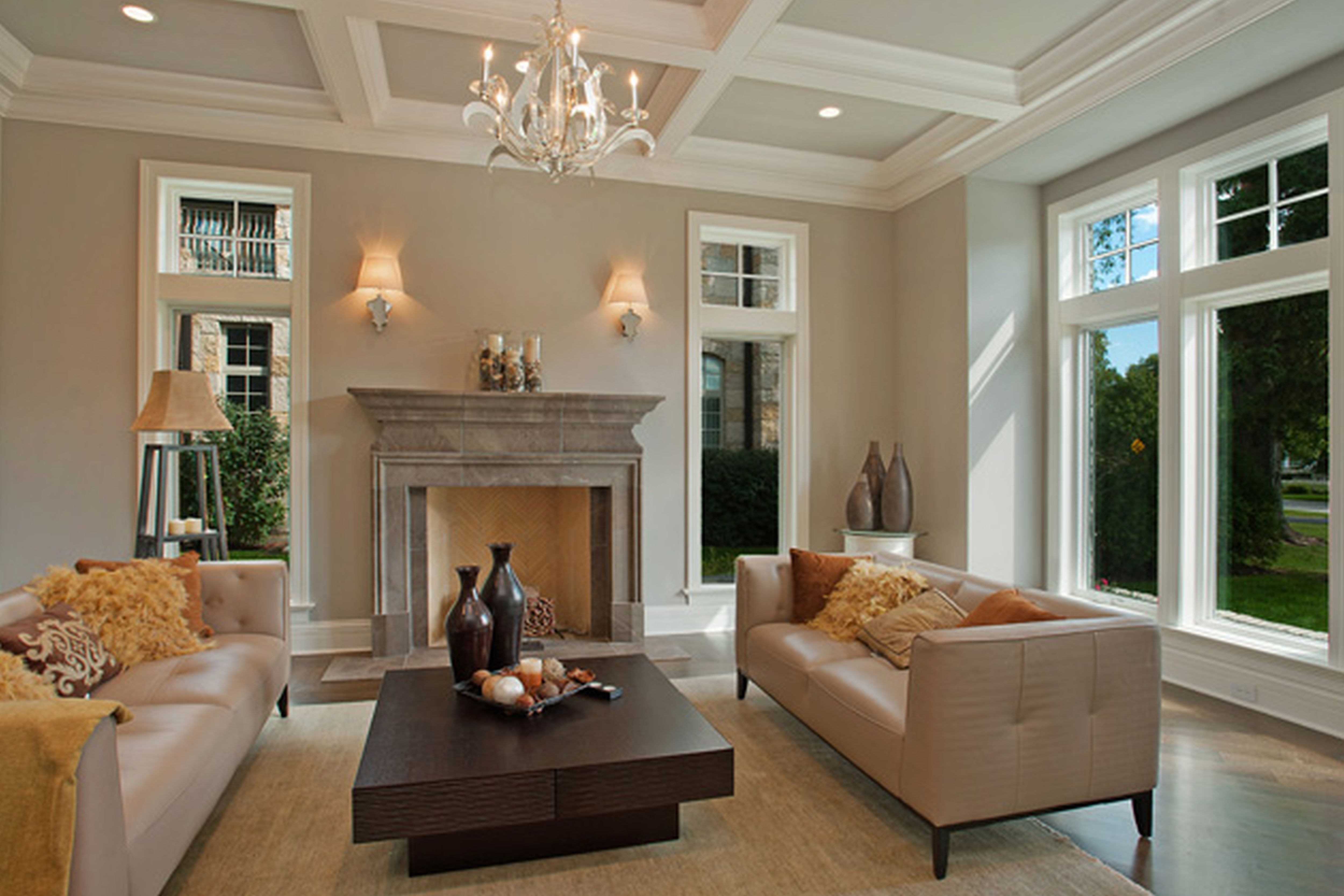 appealing neutral paint colors living room | Interior,Admirable Gray Wall Paint Indoor Stone Fireplace ...