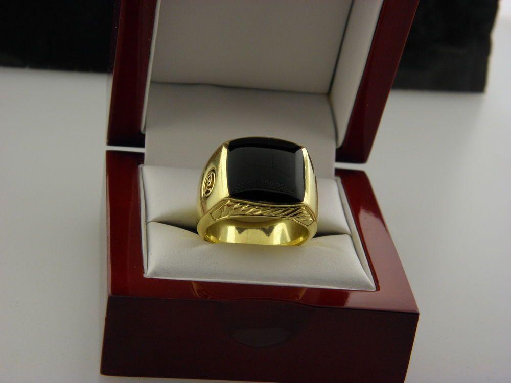 David Yurman Black Onyx Signet Men Ring In 18k Gold Size