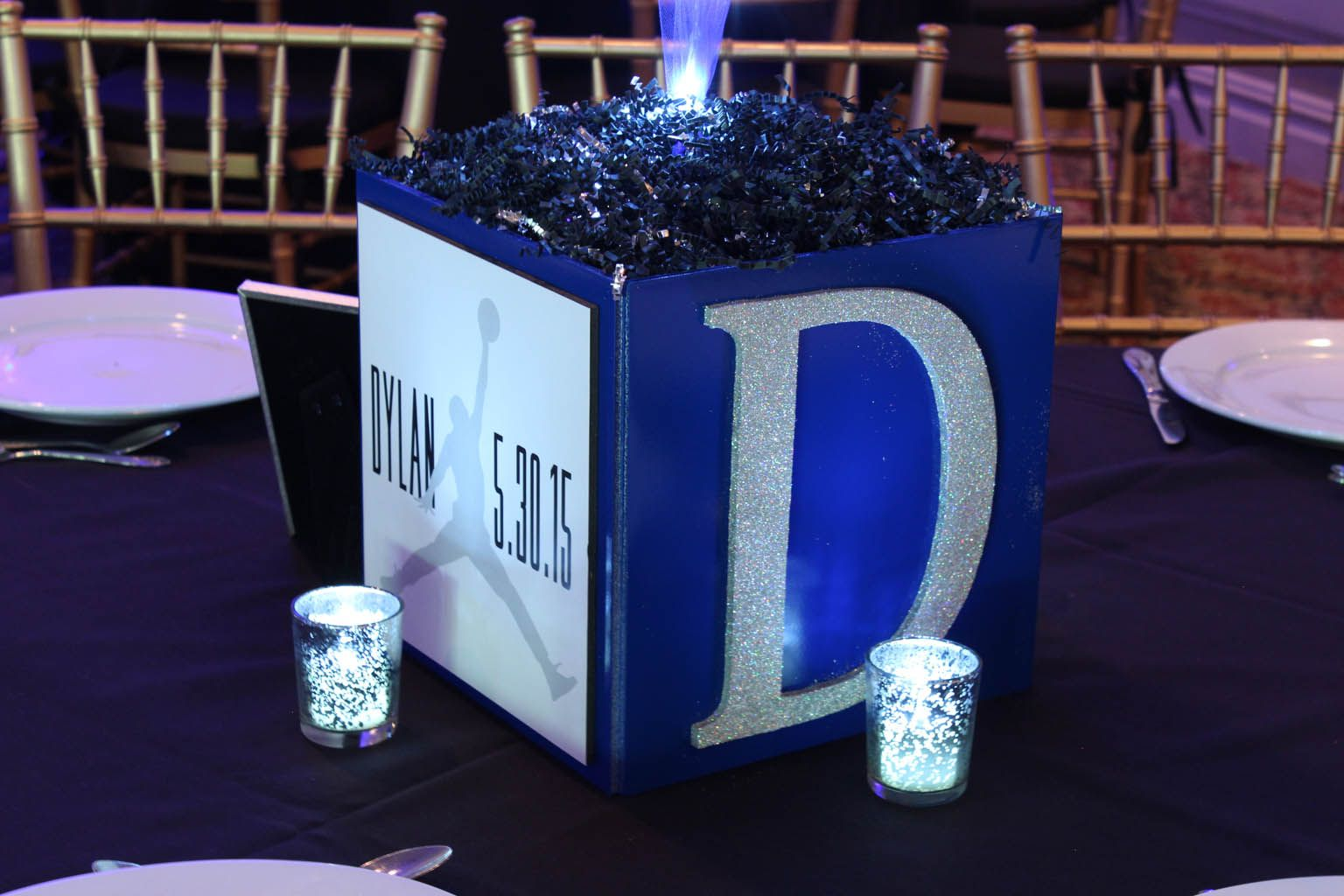 Bar mitzvah decor south florida mitzvah production by 84 west events - Bar Mitzvah Cube Centerpiecebar Mitzvah Cube Centerpiece With Custom Logo Initial Led Votives