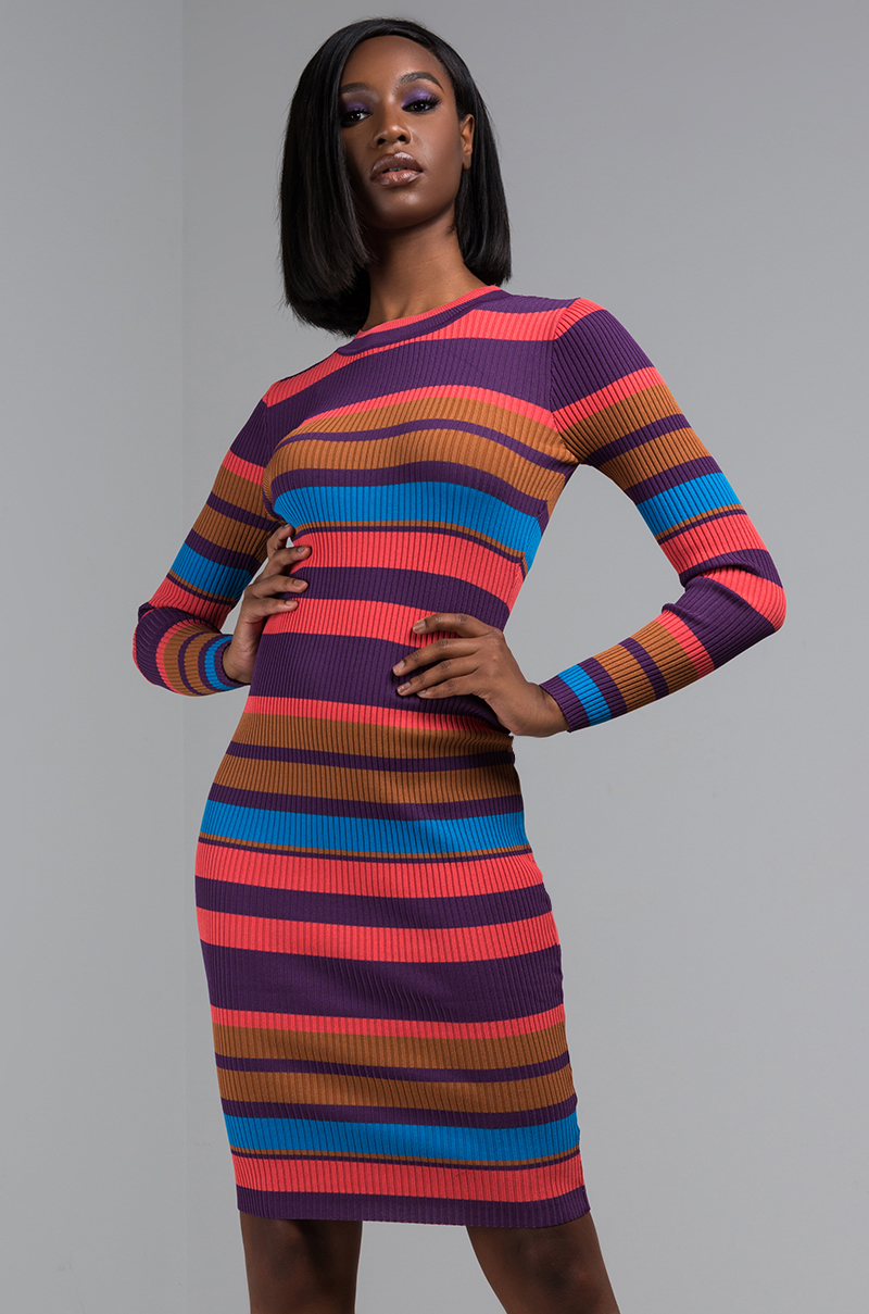 01aacd8ef93 AKIRA Label Striped Knit Ribbed Sweater Dress in Purple Multi ...