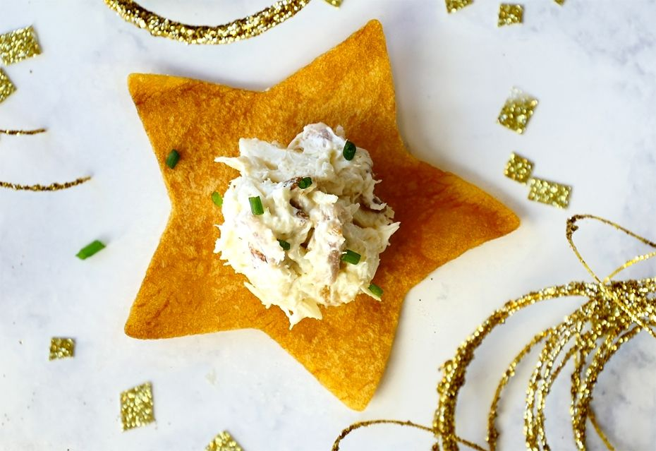 Loaded baked potato crab chips about the author chef