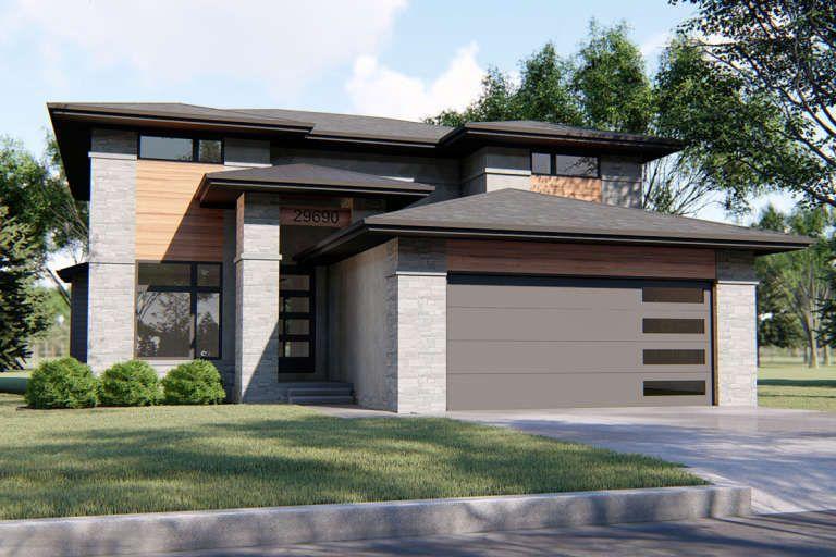 House Plan 963 00345 Prairie Plan 2 443 Square Feet 4 Bedrooms 2 5 Bathrooms In 2020 Prairie Style Houses Prairie House House Plans