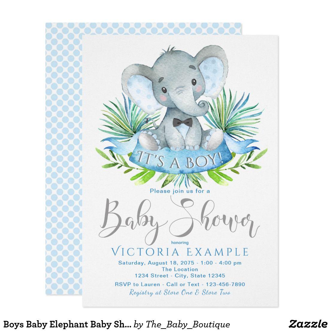 Boys Baby Elephant Baby Shower Invitations   Elephant baby showers ...