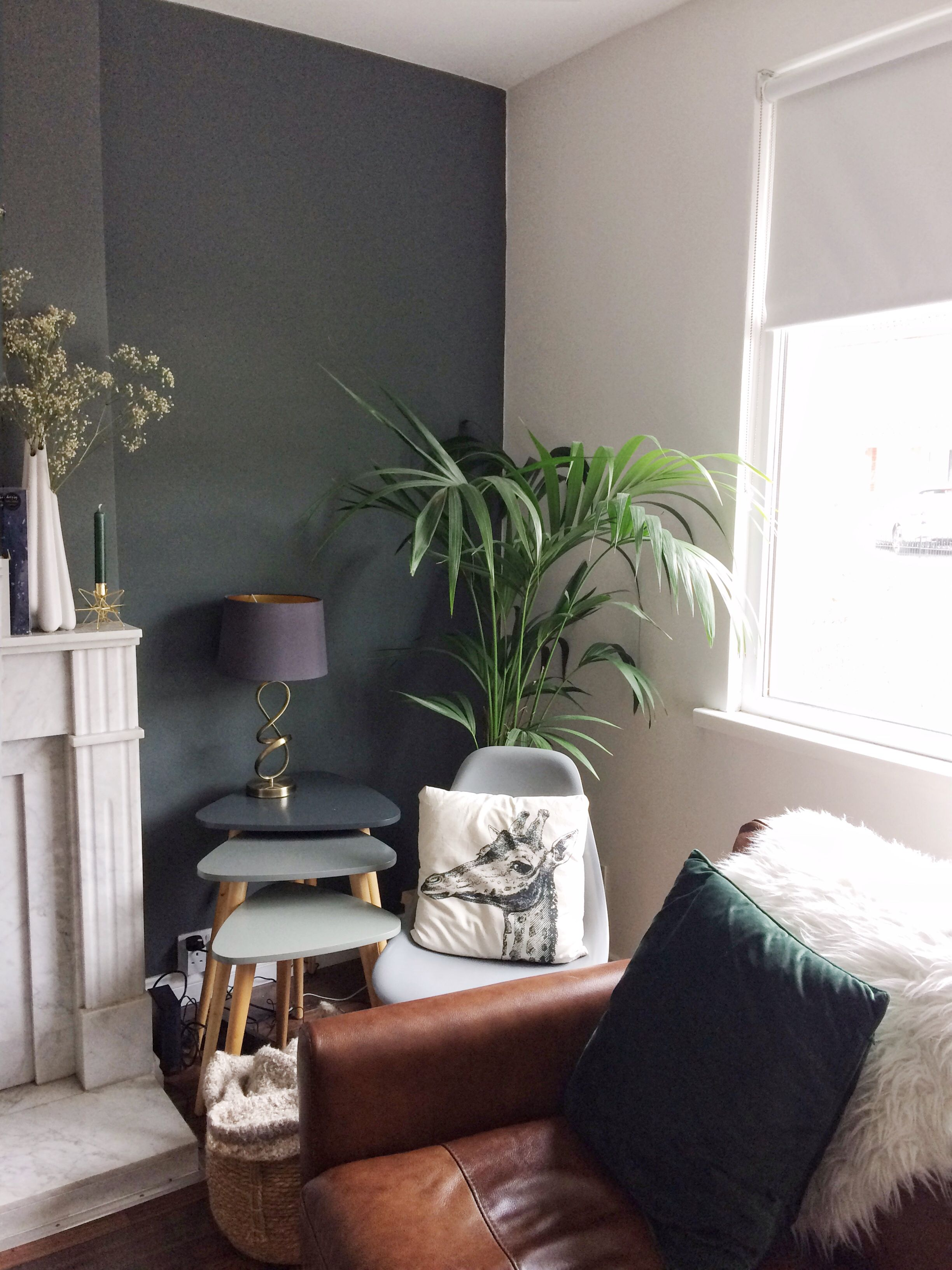 Best Dark Grey Wall And Brown Leather Sofa With Dark Green 400 x 300