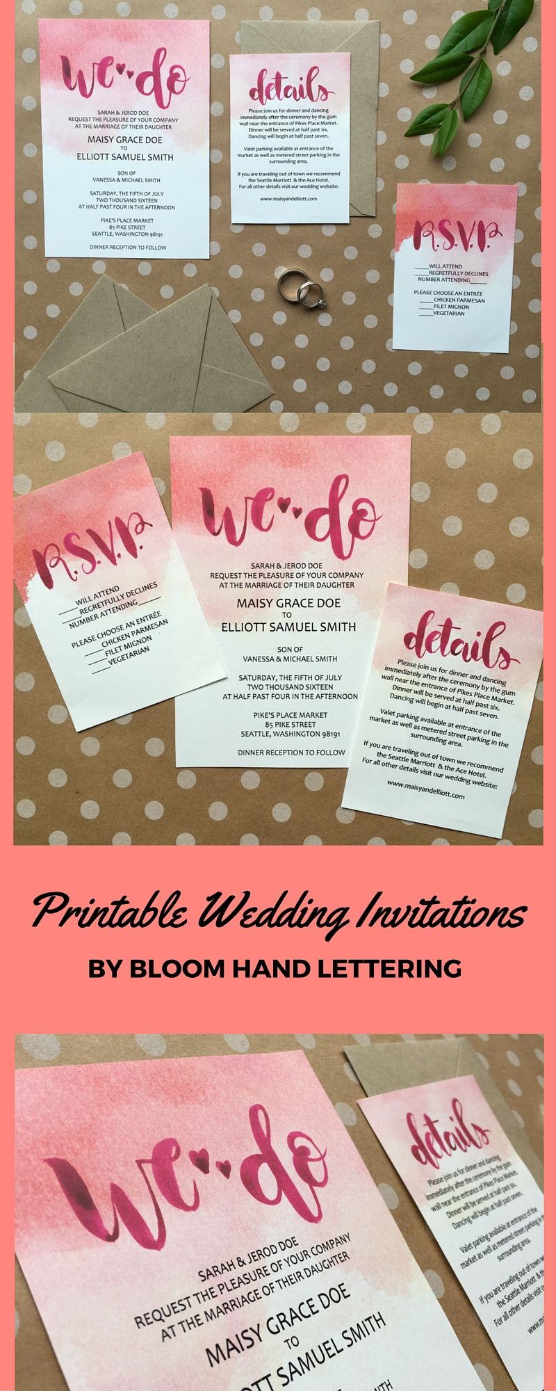 Our Hand Lettered Pretty In Pink Watercolor Wash Printable