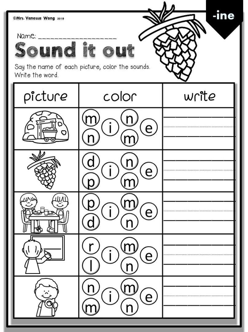Phonics Activities Worksheets For Kindergarten First Grade Cvce Long Vowel Sound It Ou Video Making Words Kindergarten Phonics Activities First Grade Worksheets