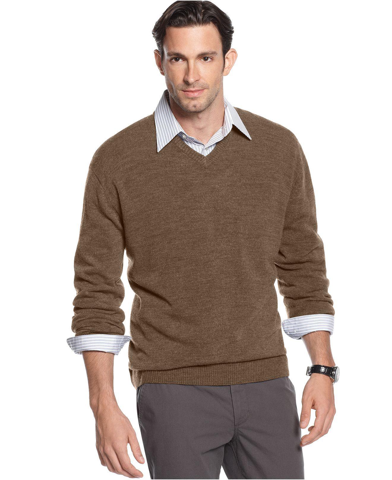 Oscar De La Renta Sweater Solid V Neck Sweater Mens Sweaters