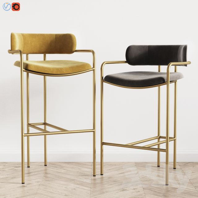 Lenox Velvet Bar And Counter Stools West Elm With Images Modern Bar Stools Home Bar