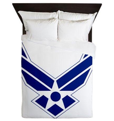 USAF-Symbol-Blue-On-White Queen Duvet on CafePress.com