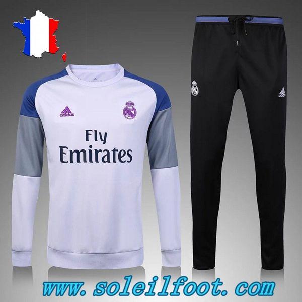 Replica Survetements Enfant Kits Real Madrid Blanc/Gris Saison 16 17 Pas Cheres
