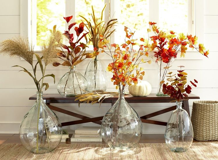 Pier 1 Recycled Glass Vases With Faux Floral Stems Fall Decor Recycled Glass Vases Decor