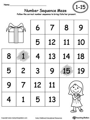 Practice Number Sequence With Number Maze 1-15 Part 2 | Printable ...