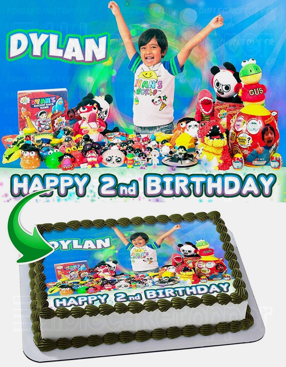Remarkable Ryan Toysreview Edible Image Cake Topper Personalized Birthday Personalised Birthday Cards Petedlily Jamesorg